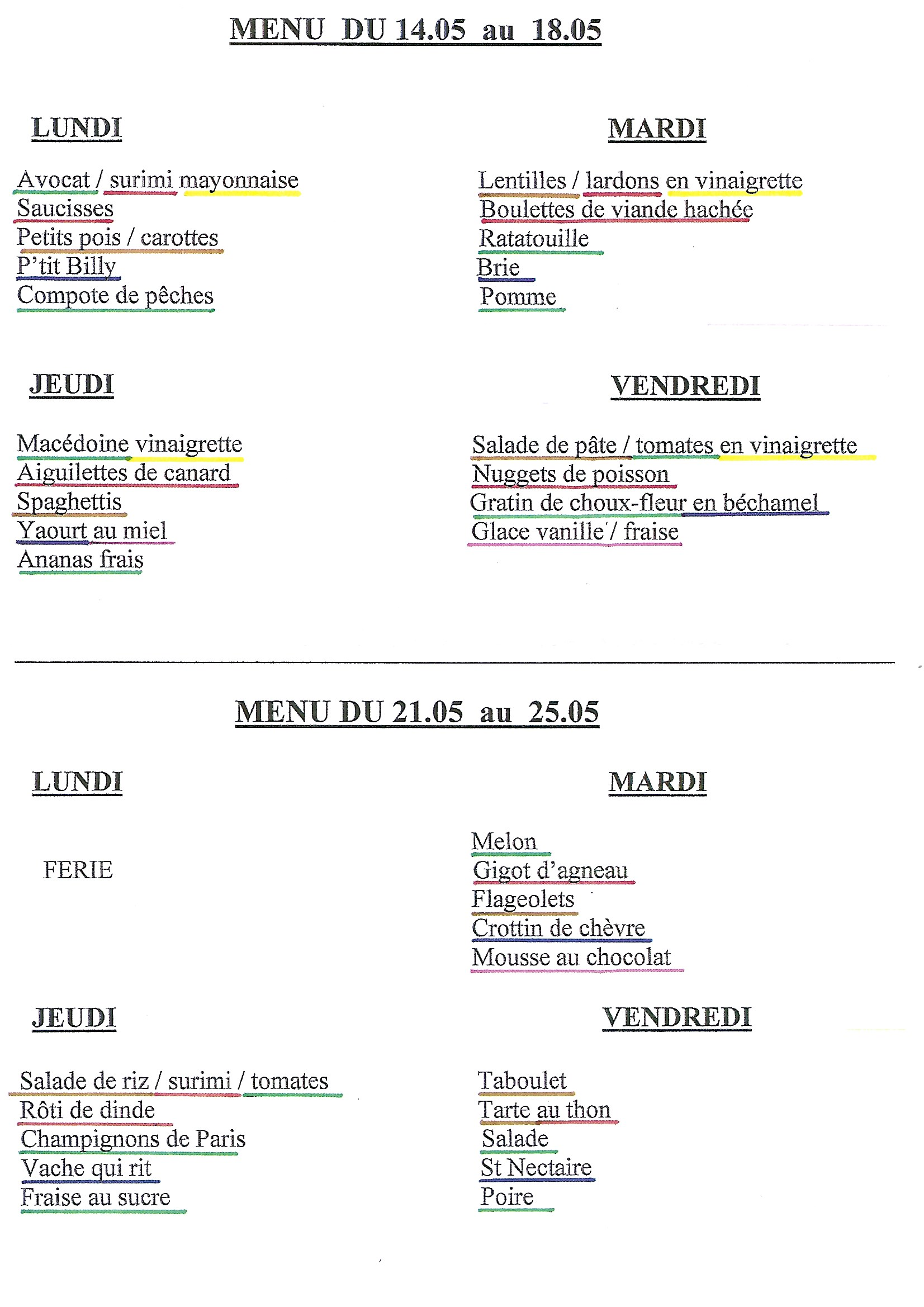 menus cantine du 14 au 25 mai